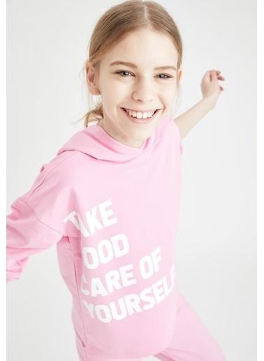 DeFacto Kız Çocuk Yazı Baskılı Crop Sweatshirt Nefti